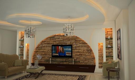 طراحی دیوار پشت تلویزیون با کناف