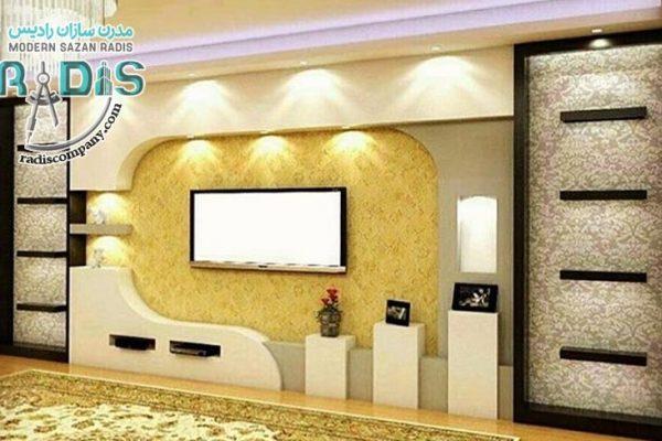 دکور دیوار پشت تلویزیون با کناف